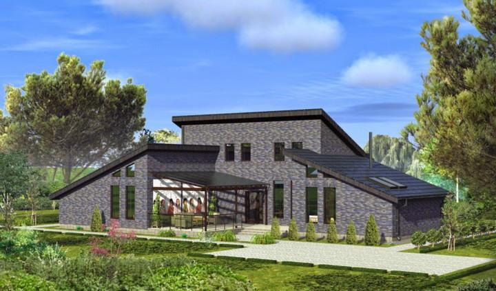 Внешний вид П-образного дома с террасой (с) Строймастерс