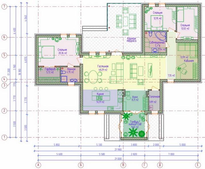 Планировка П-образного дома, 4 комнаты, 1 этаж, 168 м2. (с) Строймастерс