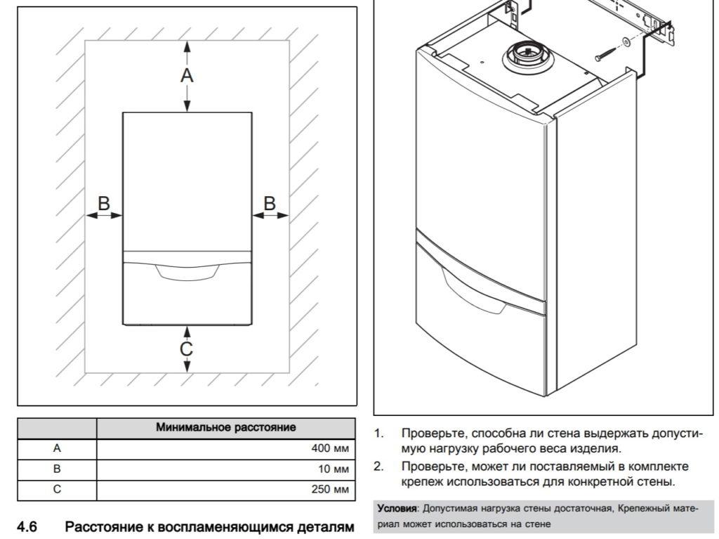 Высота установки газового котла (с) Vaillant