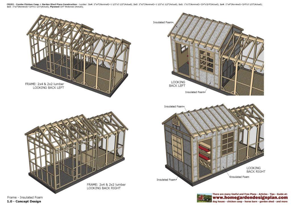 Садовый сарай и курятник, по каркасной технологии (с) http://www.homegardendesignplan.com