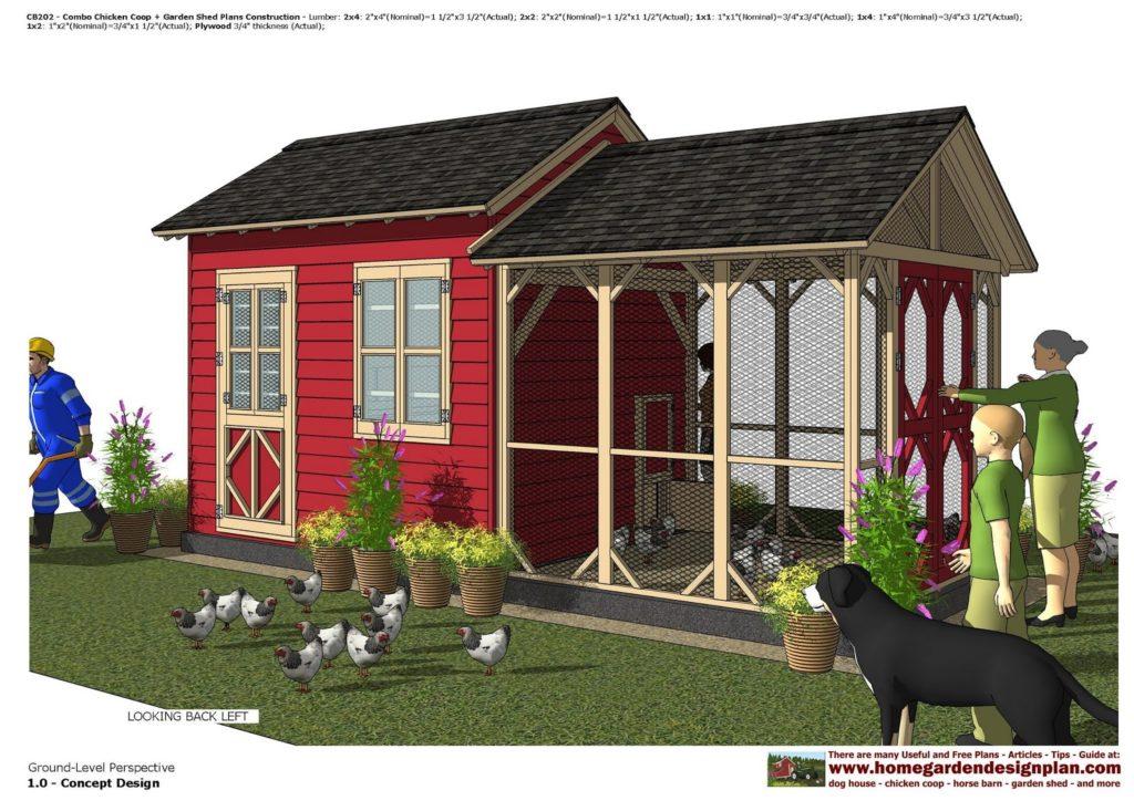 Садовый сарай и курятник, вид сбоку (с) http://www.homegardendesignplan.com