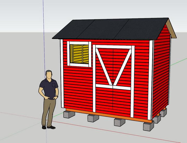 Сарай 2х3 метра, скриншот проекта выполненного в Sketchup