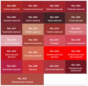 Красные оттенки RAL