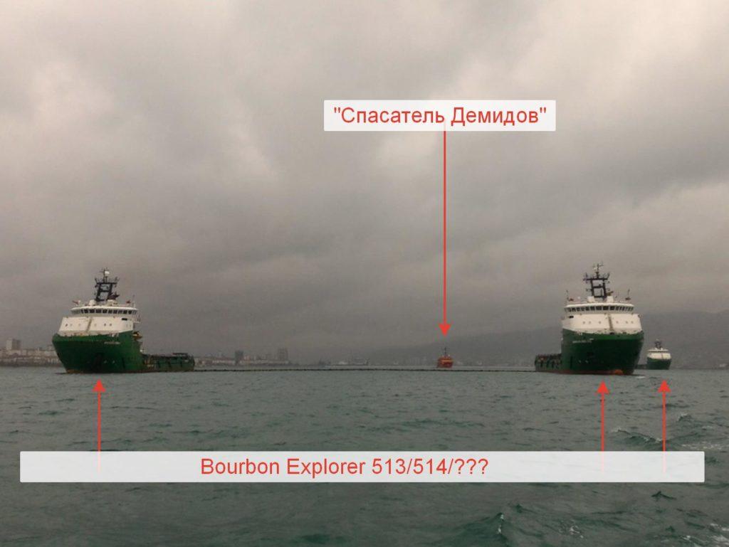 Учение ЛРН с участием судов Спасатель Демидов, Bourbon Explorer 513, 514 и еще одно судно из 500й серии Bourbon Explorer. (с) Пресс служба МССР
