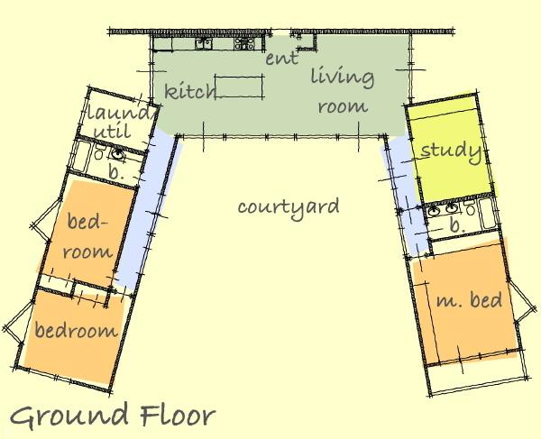 Планировка П-образного дома (с) lamidesign.com