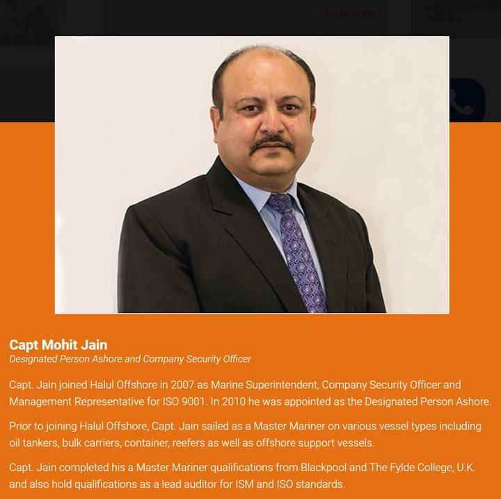 Capt Mohit Jain CSO/DPA автор нотиса / (c) www.milahaoffshore.com