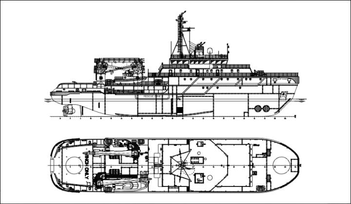"""Общая схема Многофункционального аварийно-спасательного судна ледового плавания мощностью 4 МВт типа """"Спасатель Карев"""" (c) МИБ"""