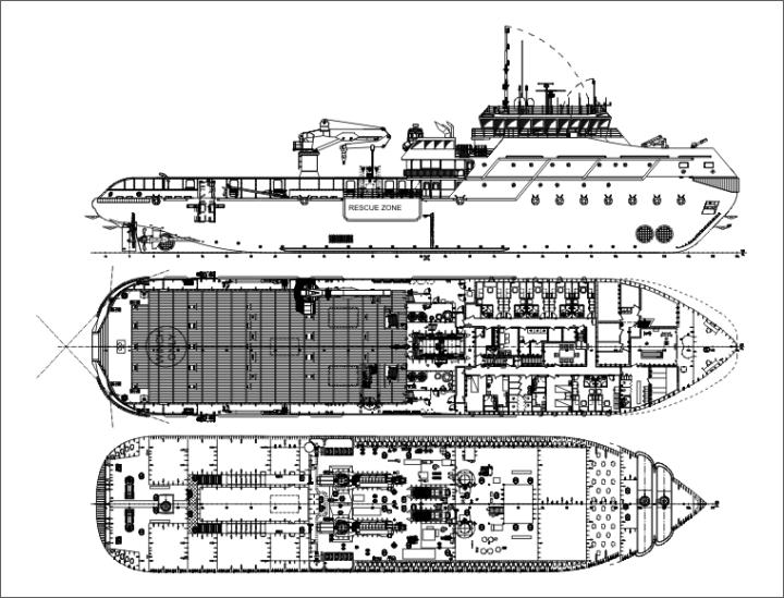Общая схема многофункционального мелкосидящего буксира-спасателя, класса Arc 5, проект MPSV12 (c) МИБ