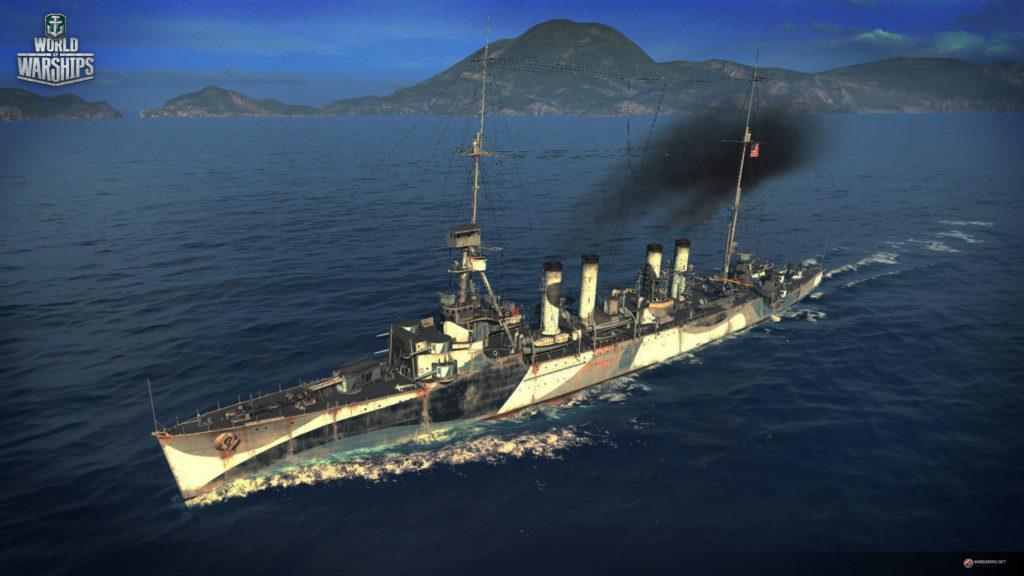 Премиум крейсер 5го уровня Marblehead, США доступный в промо наборе (с) WOWS
