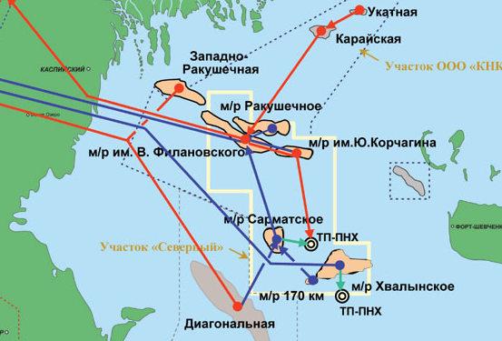 Схема месторождений северного Каспия, сектор РФ