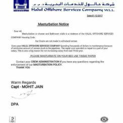 Halul Offshore mastrubation notice / 2017