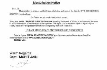 Halul Offshore mastrubation notice / 2017