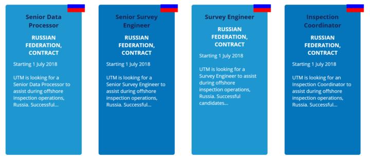 Скриншот с некоторыми вакансиями для сюрвейеров в РФ (оффшор) / (с) https://www.utmconsultants.com/