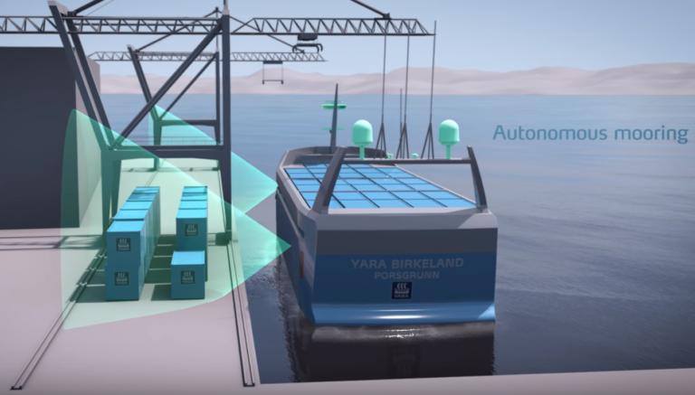 Для автоматического подхода и швартовки судна к причалу используются датчики, скриншот / (с) Kongsberg Gruppen