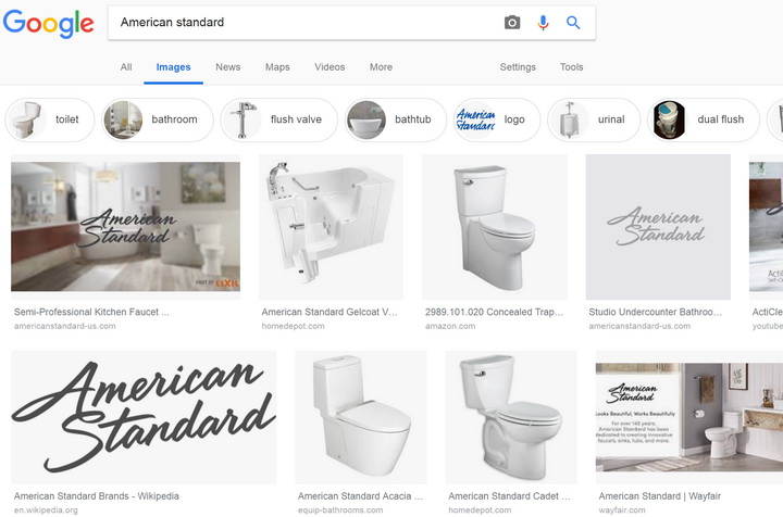 Результат поиска по фразе American Standard / (c) Google.com