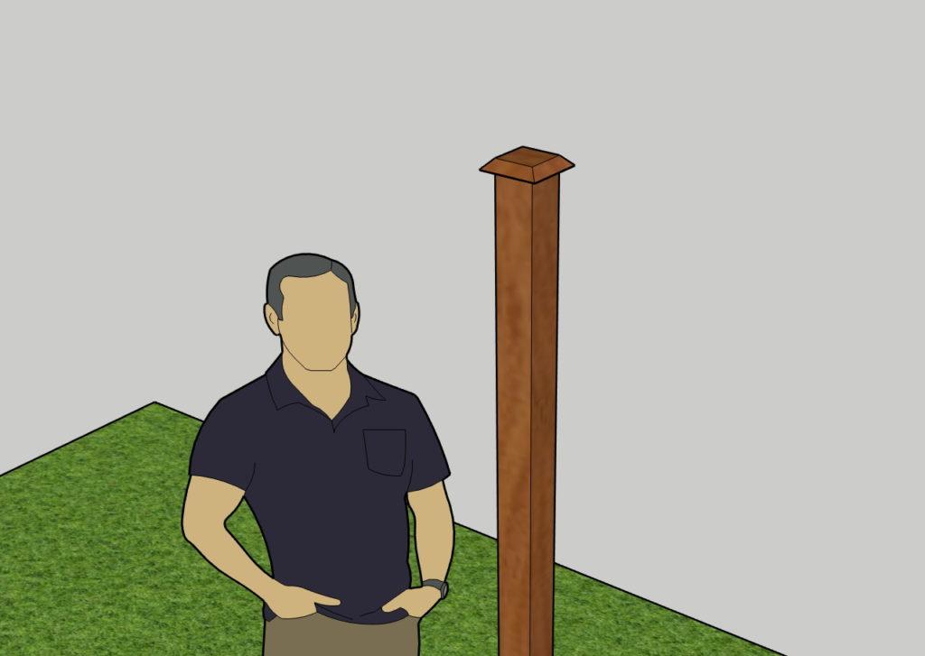 Скриншот декоративной деревянной крышки столба для защиты торца от осадков. Внешний вид.