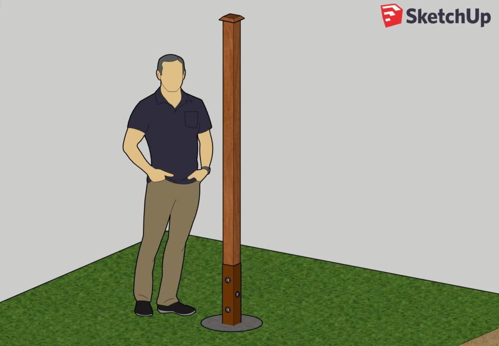 Правильно установить деревянный столб в гильзу из профтрубы с болтовым креплением и бетонированием. Обратите внимание на минимальный размер бетонной части.