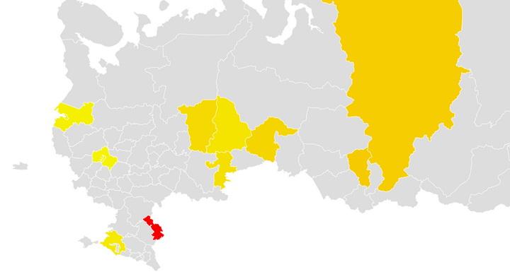 Регион из которых интересовались переездом на ПМЖ в Астрахань, скриншот карты Wordstat.