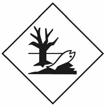 """Знак экологической опасности """"загрязнитель моря"""", изображено """"дохлая рыба и дерево""""."""